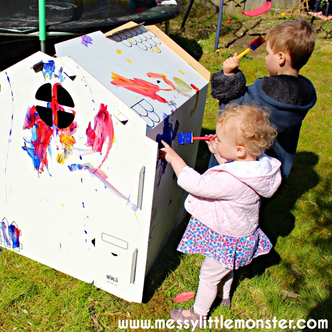 Colour or paint your own cardboard playhouse for toddlers and preschoolers