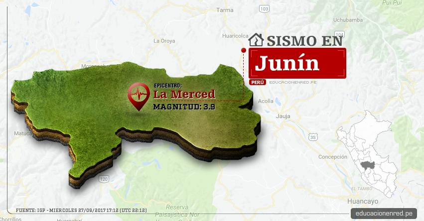 Temblor en Junín de 3.9 Grados (Hoy Miércoles 27 Septiembre 2017) Sismo EPICENTRO La Merced - Chanchamayo - Perené - Pichanaqui - San Ramón - Vítoc - IGP - www.igp.gob.pe