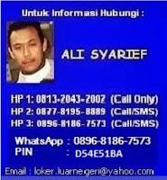 Info hubungi Ali Syarief 081320432002 - 087781958889-089681867573