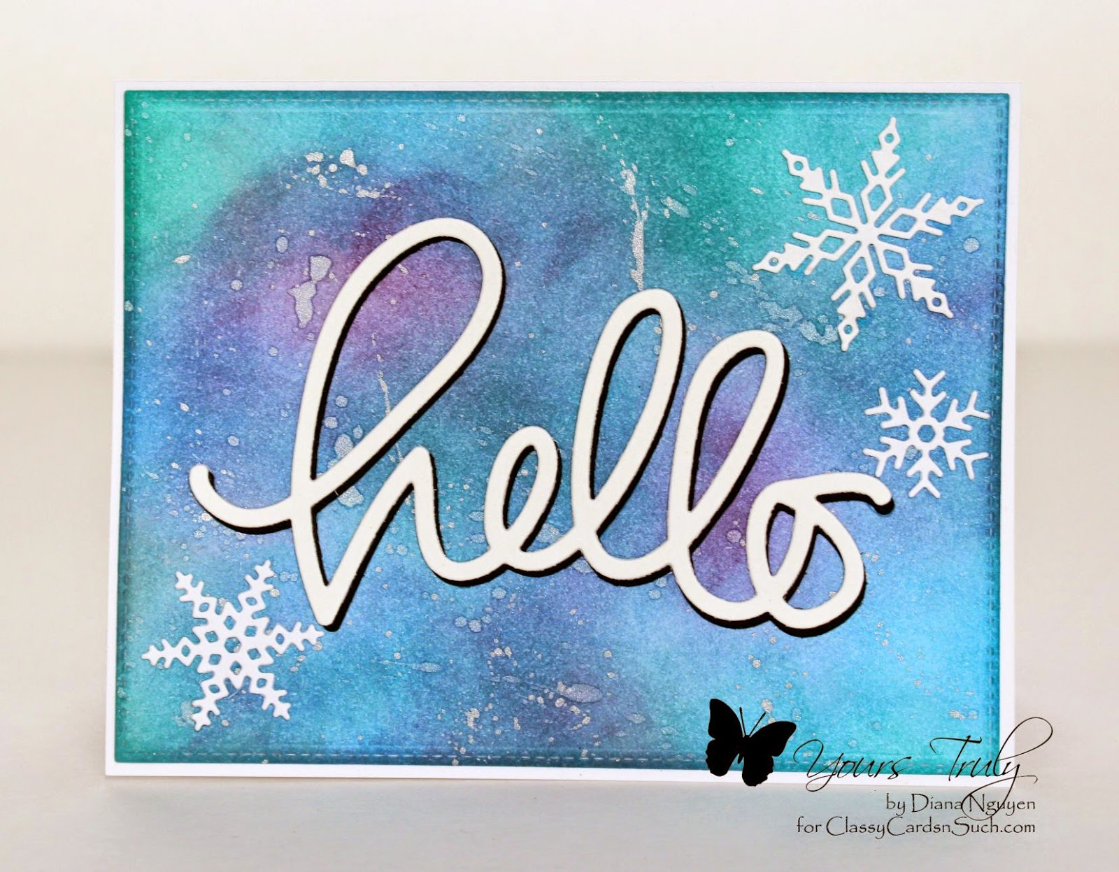Simon Says Stamps, hello, word dies, distressed background, note card