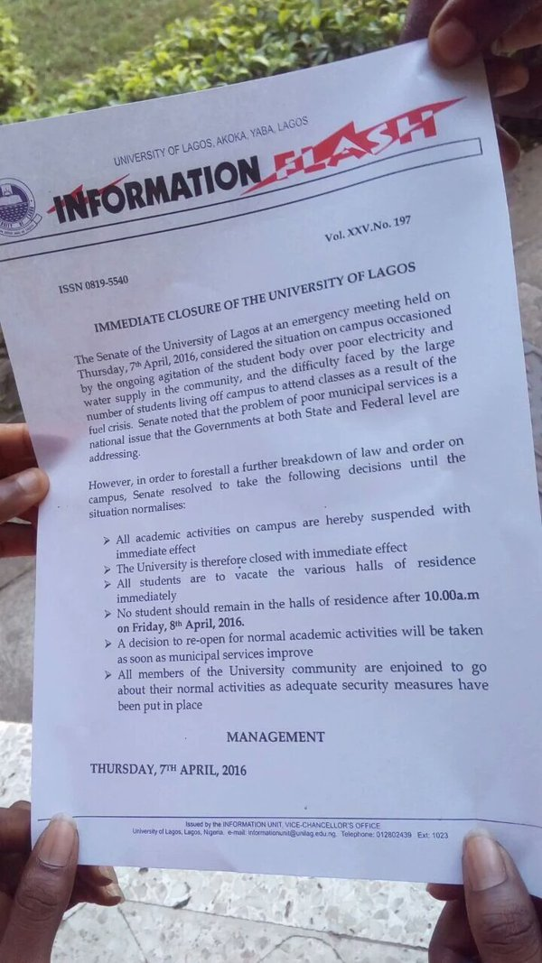 Every Student Must Vacate UNILAG Premises TODAY - Management