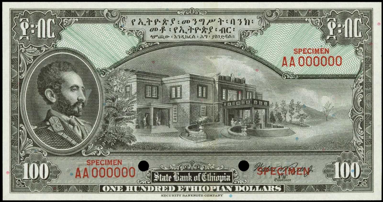 Ethiopia banknotes 100 Dollars note 1945 Emperor Haile Selassie