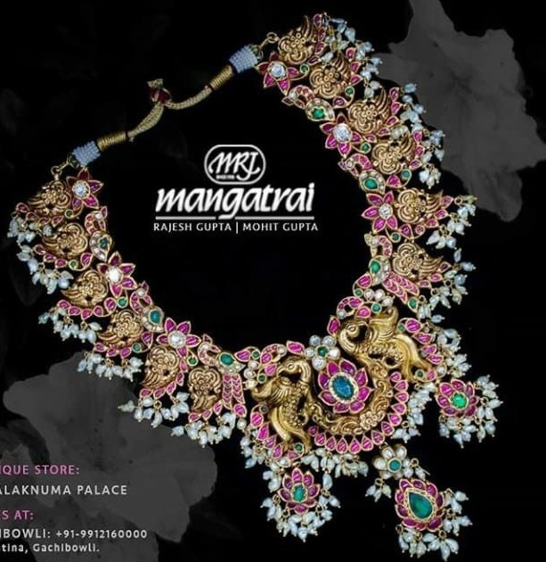Latest Peacock Kundan Set by Mangatrai Jewellers