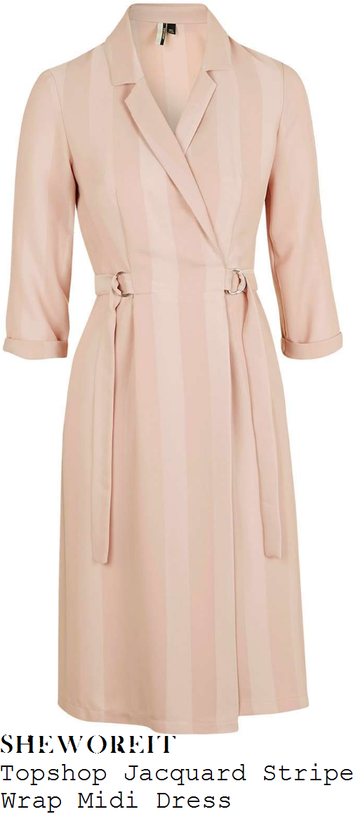 catherine-tyldesley-topshop-rose-and-ballet-pink-stripe-print-jacquard-three-quarter-sleeve-v-neck-wrap-front-d-ring-belt-detail-midi-dress
