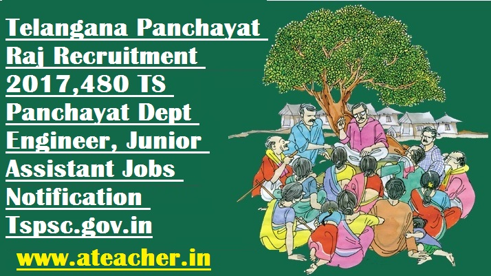 TS/TSPSC Telangana Panchayat Raj Recruitment 2017 – 480 Panchayat Secretary, Engineer & other Vacancy | Apply Online @ www.tspsc.gov.in