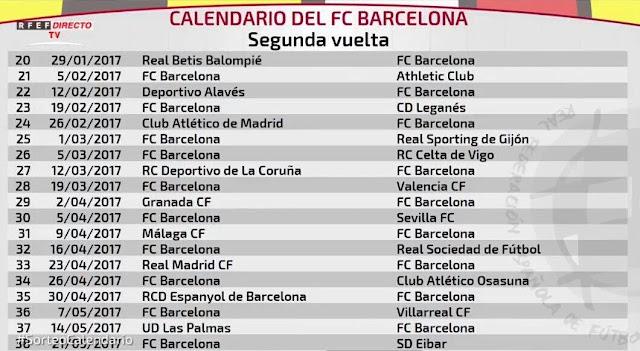 Barcelona La Liga fixtures 2016/2017
