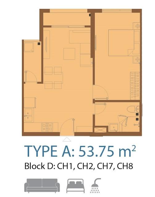 căn hộ centa park 1 phòng ngủ 53 m2