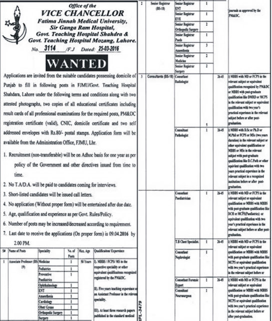 MBBS Doctors Jobs in Fatimah Jinnah Medical University Lahore