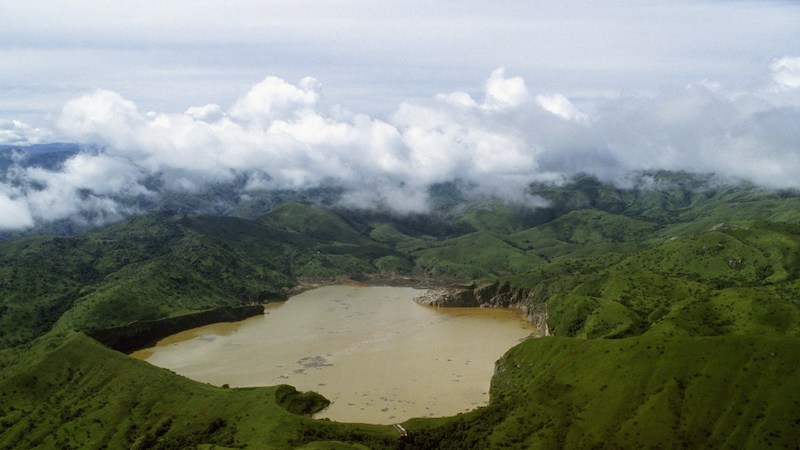 - Ariel view of Lake Nyos in the Oku Volcanic Fields of Cameroon