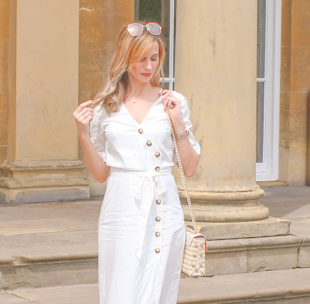 White Zara Button Down Midi Dress