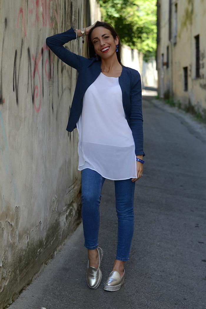 giacca jersey blu