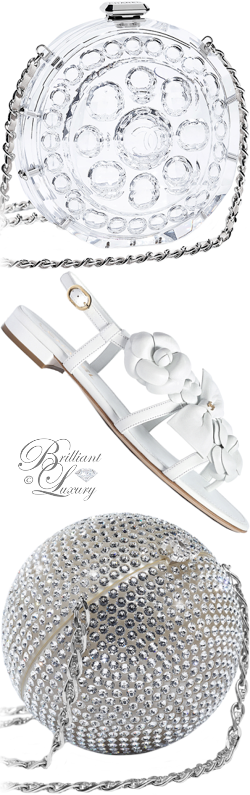 Brilliant Luxury ♦ Chanel silver strass and transparent minaudiere combined with chanel white flat sandals
