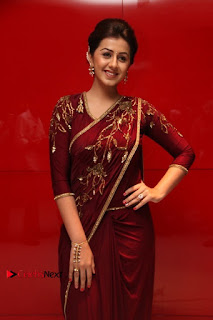 South Indian Actress Nikki Galrani Stills in Red Designer Saree at Maragadha Naanayam Tamil Movie Audio Launch  0011.jpg