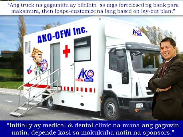 """Health is a primary concern that every Filipino family often put into least consideration especially those in the remote areas of the country. They only consult the doctors or go to the hospital if the health risk are already out of hand. The reason is that they rather spend their hard-earned money for other basic needs like food and other necessities. That is why the seasonal medical missions from private and government entities are being swarmed by people because it is their only chance to avail quality health services without spending a cent. Mobile health services are popular in other parts of the world like Africa, India, Mozambique, Cameron and Tanzania,where access to the basic medical needs are badly needed. Elizabeth Sheehan, the founder of Containers 2 Clinics was inspired to make her company based on her clinical work in the US, Cambodia, and Mozambique, where she realized how the """"lack of access to basic healthcare resulted in death and broken families.""""  Health care is a huge challenge in areas where there are no developed roads and railways. Mobile clinics can penetrate these areas to bring health care and educate the people with regards to their health.  Mobile clinics are doing a great part to fight malnutrition, reduce mortality rate among mother and infants and help  avoid the spread of diseases.  The Department of Health has health buses in operation but the services are exclusively for dental services. Sponsored Links  A group of concerned OFWs is now pushing for the establishment of  Mobile Health Clinic to provide health services for the Overseas Filipino Workers (OFWs) and their families. OFW-Ako Founder Doc. Chie Umandap, an OFW based in Kuwait, said """"We are now in the process in presenting the concept to our potential sponsors."""" """"Our objective is to have the mobile clinic visit the areas where there are concentration of OFW families based on the record of POEA and other agencies,"""" he added. They are spearheading the Mobile Health Clinic proj"""