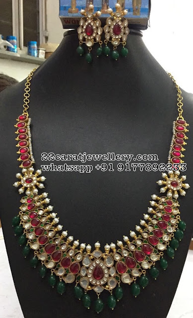 Kundan Long Haram in Silver