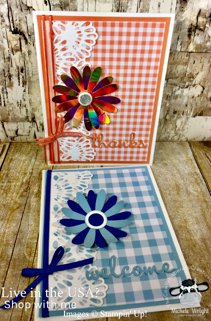 Card, Well Written Framelits, Delicate Lace Edgelits, Daisy Punch