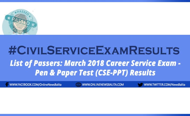 March 2018 Civil Service Exam Results CSE-PPT - NCR