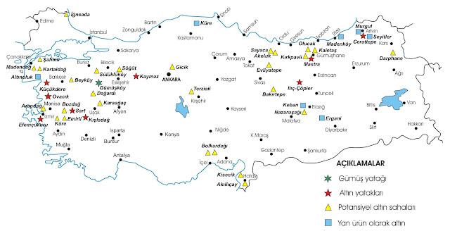 türkiyede degerli maden rezervleri