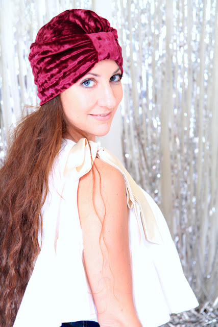 Crushed Velvet Turban in Burgundy by Mademoiselle Mermaid
