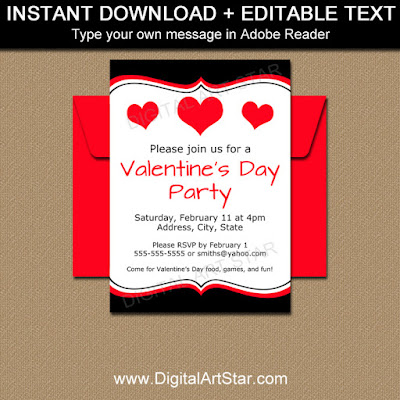editable Valentine's Day party invitation in black and red