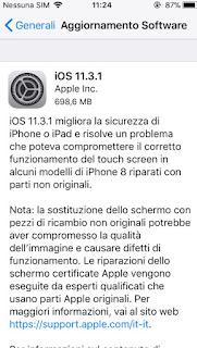 Aggiornamento Software iOS