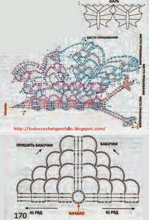 molde chal mariposas para tejer al crochet