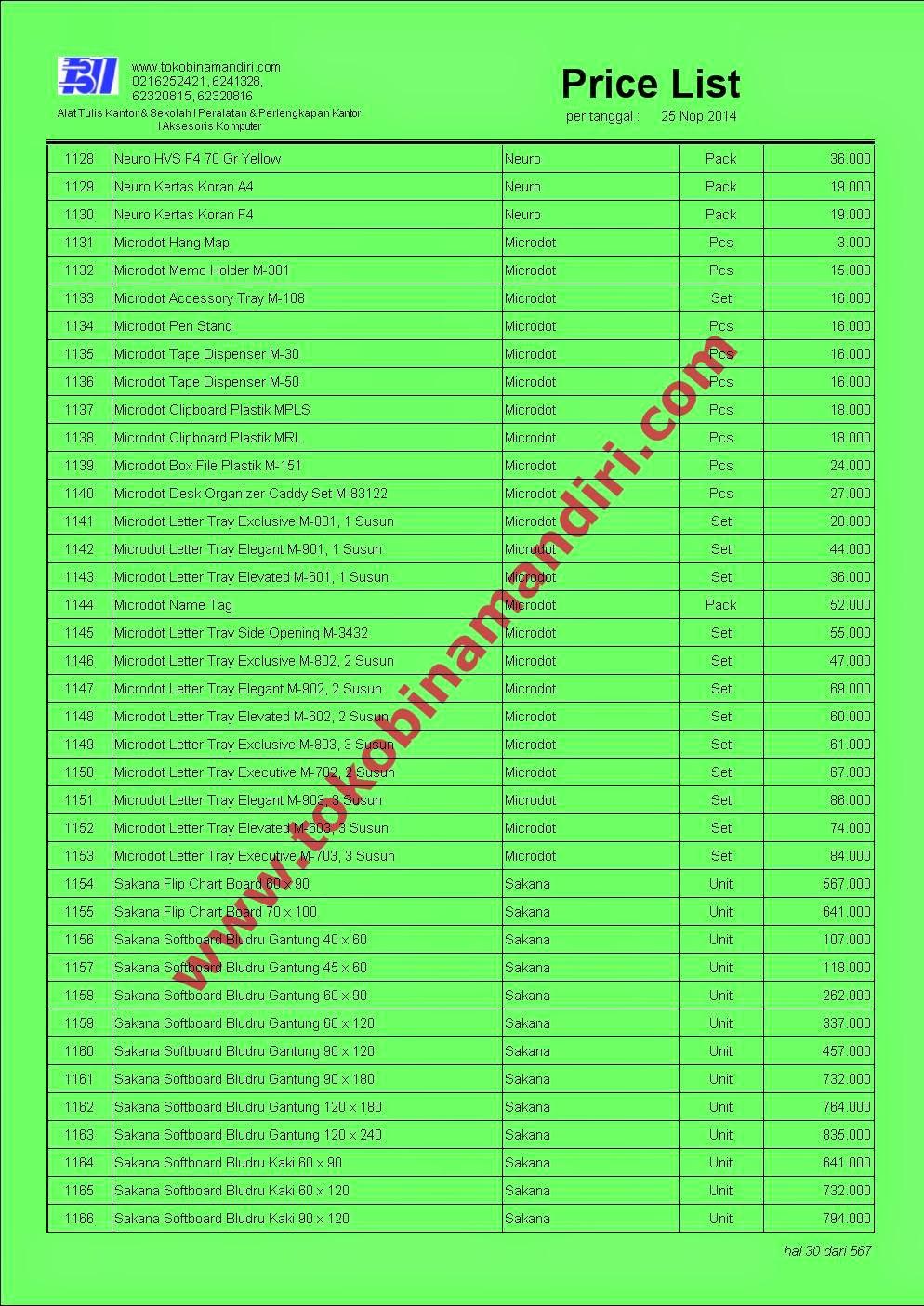 Price List Stationery 2015 JABODETABEK