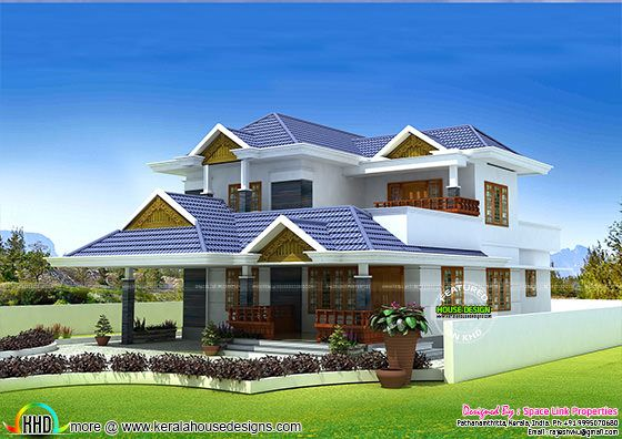 Typical Kerala home design with 3 bedrooms