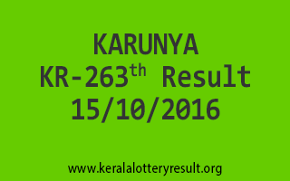 KARUNYA KR 263 Lottery Results 15-10-2016