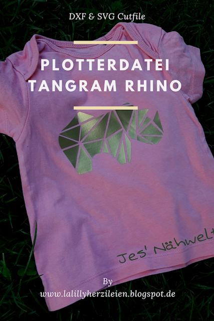 Die gradlinige Plotterdatei für ein Nashorn im Tangramstil läd dazu ein mit auffälligen Materialien wie metallischer Flexfolie zu spielen.