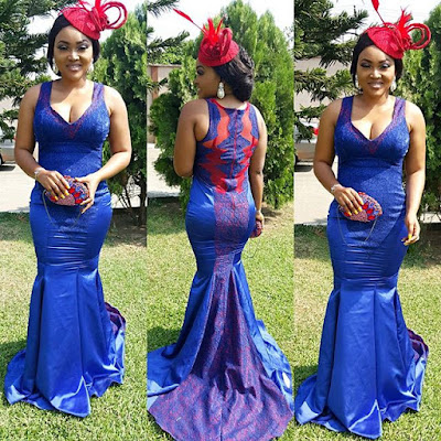 Edo State Born actress Mercy Aigbe and her son stunning outfit to a wedding