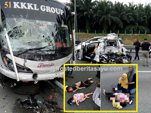 SAYU !! Meraung ratap jasad anak.. Kereta mereka remuk dirempuh bas di RNR Seremban (10 Gambar)