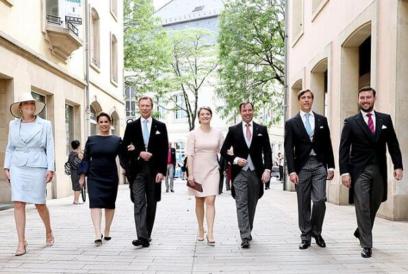Hereditary Grand Duke Guillaume, Hereditary Grand Duchess Stephanie, Prince Félix, Princess Alexandra, Prince Sebastian and Prince Louis