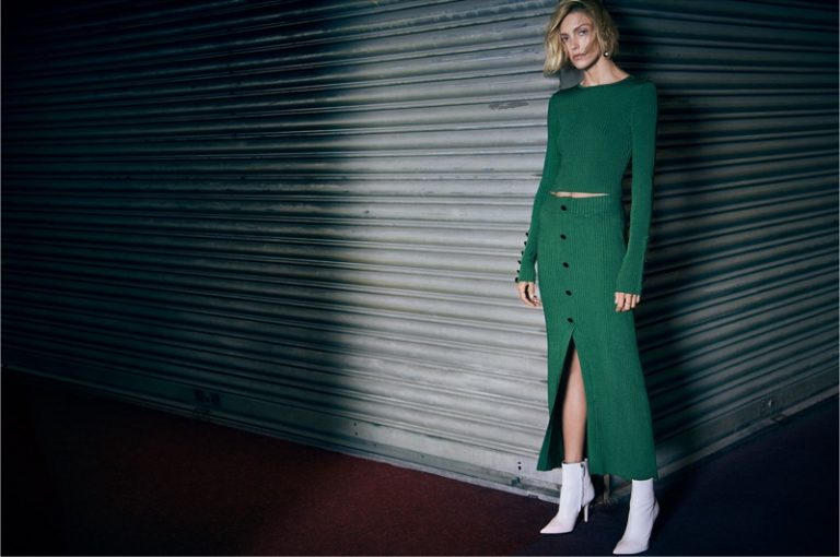 Zara green ribbed top and skirt with white ankle boots