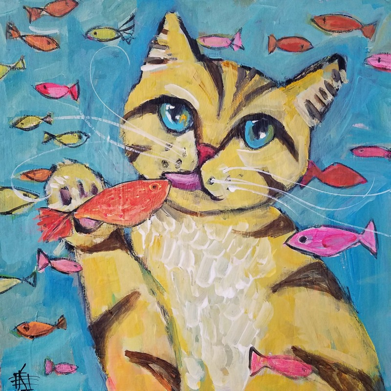 CAT #26 Gone Fishing by Joanie Springer #30cats