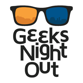 Sunglasses with one yellow lens and one blue. Black text below stating Geeks Night Out