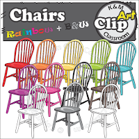Chair Clip Arts in Rainbow Colors