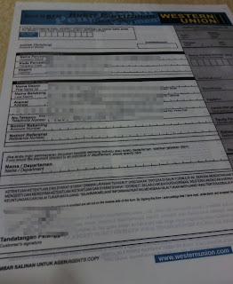 western union quick pay form (blue form)
