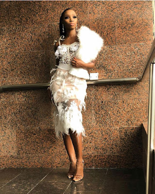 #BBNaija star Bambam's dazzling all white look