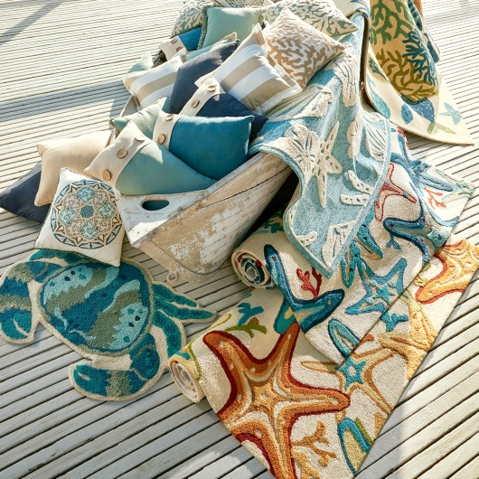 Coastal Outdoor Pillows and Rugs from Pier 1