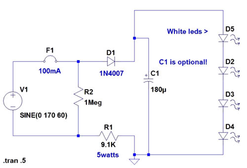 led wiring diagram 120v 120v led wiring diagram 4-led night light with 120v