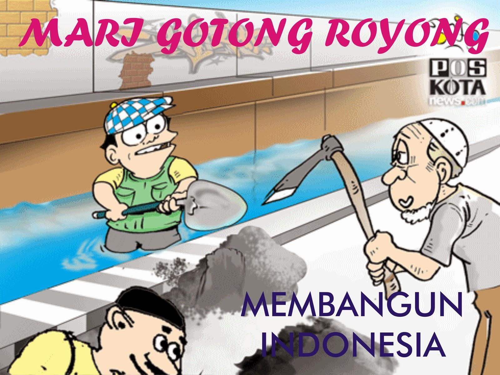 Gambar Gotong Royong Di Sekolah Kartun Bestkartun