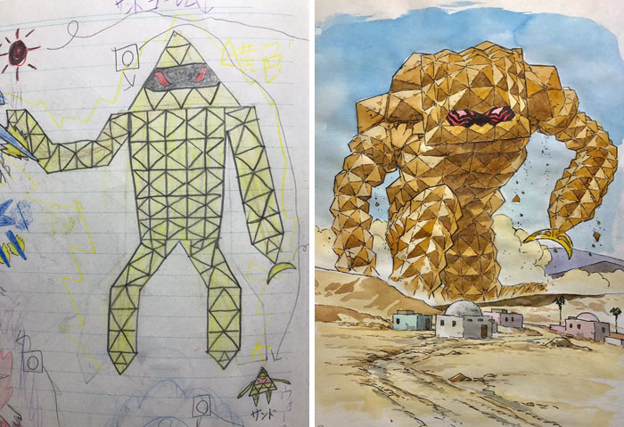 #6 Sand Golem - Dad Turns His Sons' Doodles Into Anime Characters, And The Result Is Amazing