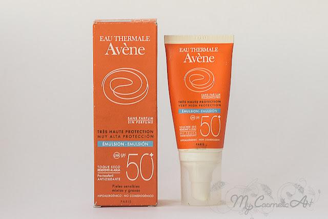 Avene. Aceite solar y Loción facial 50+ Toque Seco