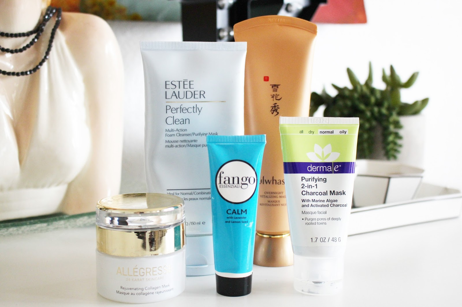 facial masks for spring, estee lauder perfectly clean, fango calm mask, derma-e charcoal mask, allegresse collagen mask, sulwahsoo overnight vitalizing mask