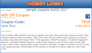 free Hobby Lobby coupons march 2017