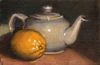 Oil painting of a white porcelain teapot beside a lemon.