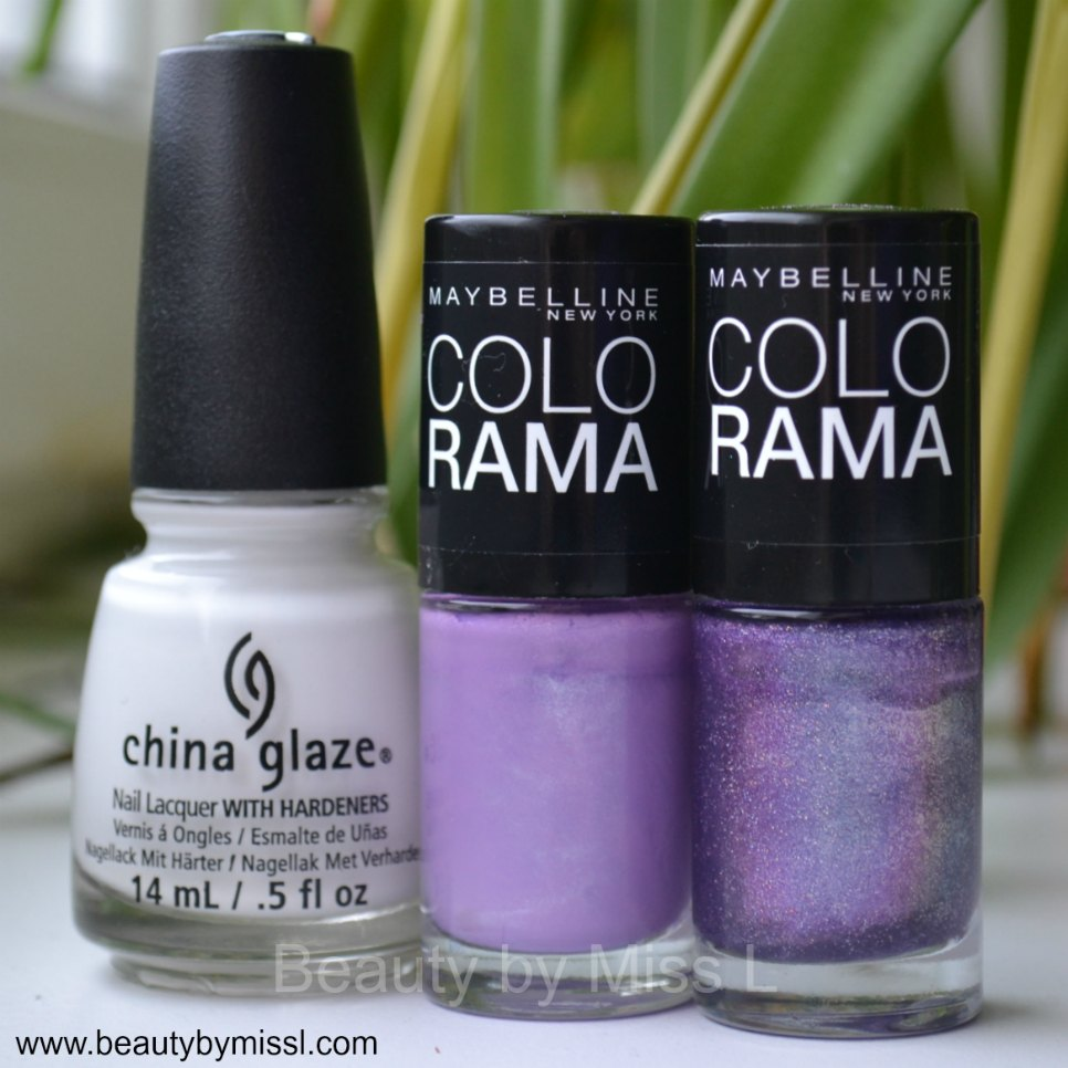 China Glaze White on White, Maybelline Colorama #86, Maybelline Colorama #50