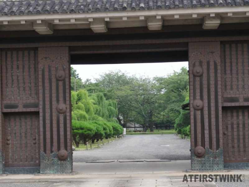 nijo castle kyoto Japan entrance peek into park trees Higashiote-mon main gate