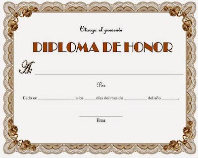 diploma de honor para completar, ejemplo de un diploma de honor para completar, formato de diploma de honor para completar, diploma para completar de color cafe, diplomas de honor para fin de año